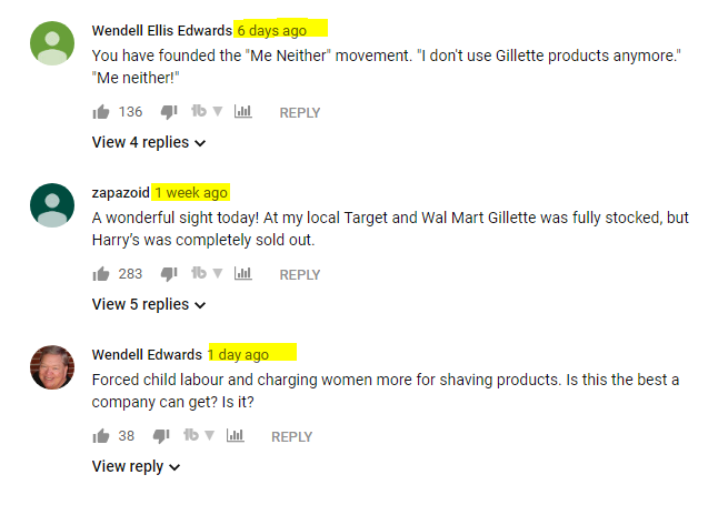 Gillette keeps getting negative comments on YouTube