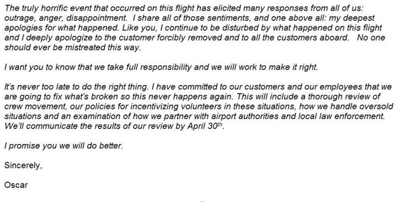 United Airlines Flight 3411 CEO Oscars revised statement