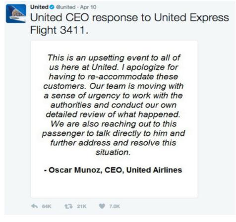 United Airlines Flight 3411 Ceos statement