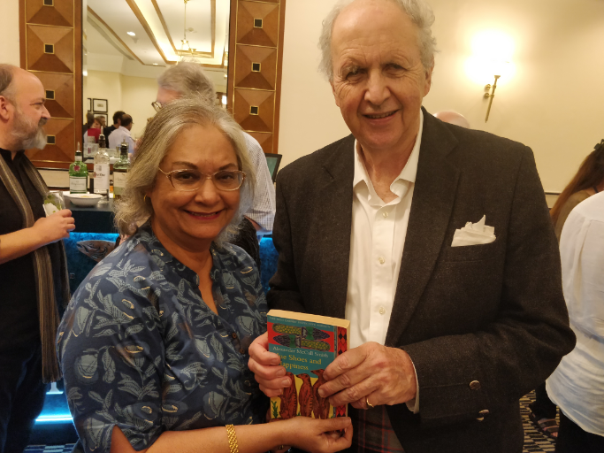 1. Author Alexander McCall Smith of The No. 1 Ladies Detective Agency fame, with Carol Andrade, No 1 fan, member of the No. 1 Ladies Book Club, in Mumbai
