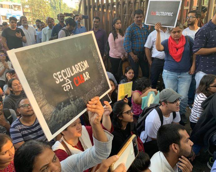 student protest against cab