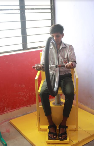 A student performing an experiment in the lab